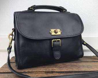 Genuine Leather Black Satchel Crossbody Bag