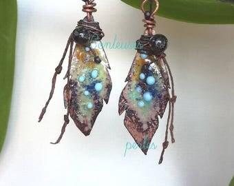 boho enameled earrings, boho enamel earrings, rustic boho earrings, bohemian earrings,spun glass, original gift, handmade creation, unique