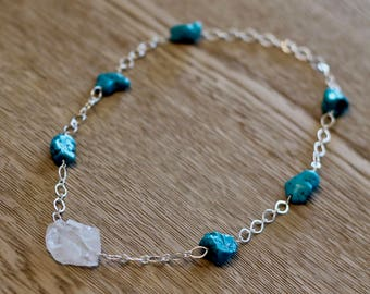 Crystal and Turquoise Howlite Necklace