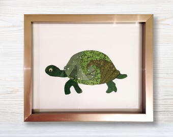 Framed Turtle Fabric Wall Art