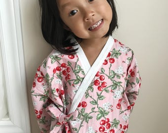 Cotton Kimono Robe for little Girls || Soft Dressing Gown (Cherry Blossom) || Lightweight Outfit and Easy to Wear || for Toddlers