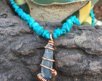 Turquiose pebbles necklace with wire wrapped Blue Kyanite pendant