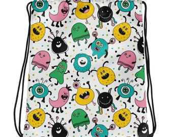 Cute Monsters Drawstring Bag