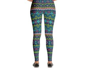 Knitted Old School Grandma Made Christmas Pattern Print Leggings