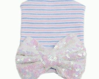 Newborn hospital bow sequin hat