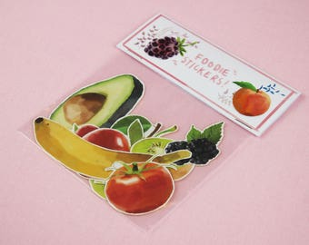 Stickers / Food Stickers / Laptop Sticker Pack / Avocado Sticker / Fruit Stickers / Macbook Decal / kawaii stickers / cute laptop stickers.