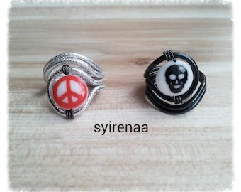 Aluminum skull ring and ring peace and love