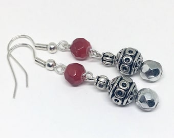 Boho Red Earrings,  Silver Bead Earrings, Silver Boho Earrings, Bohemian Jewellery, Gypsy Boho Earrings, Dangle Earrings, Festival Jewellery