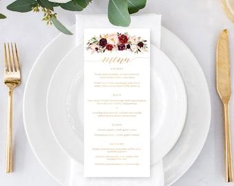Printable Menu | Romantic Marsala Design | Gold Foil Effect | Custom Wedding Menu | DIY Printable Menu
