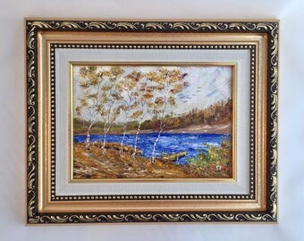The autumn morning: Small oil painting, original, handpainted from Ukraine