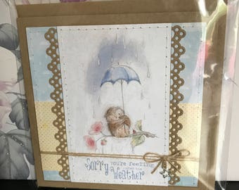 Handmade hand-stitched get well card