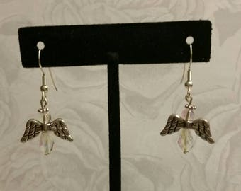 Angel Earrings, clear crystal and gold.