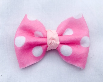 Pink and White Felt Beauty Bows, Baby Bows, Baby Barrettes