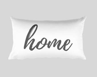 Lumbar Pillow - Home, calligraphy, home decor, farmhouse decor, wedding gift, engagement present, housewarming gift, throw pillow