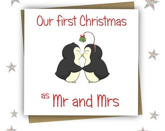 First Christmas Mr and Mrs / First Christmas Married Couple / Christmas Card / Celebrate First Christmas / Free UK Shipping