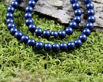 Vintage inspired glass bead Necklace navy Blue