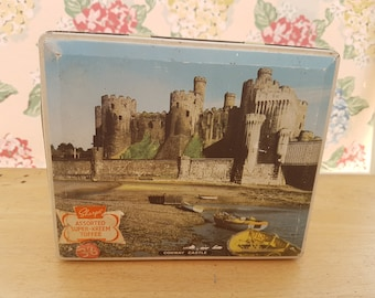 Vintage Edward Sharp & Sons toffee tin of Maidestone Kent, depicting Conway Castle