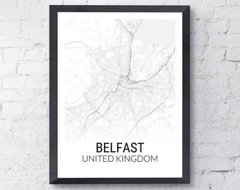Belfast Northern Ireland Map Print
