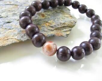 Stretch Gemstone Bracelet - Wood Beads with Birdseye Rhyolite - Yoga Jewelry, Meditation, Healing - Stackable Bracelets - Ready to Ship