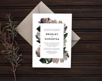Vintage Gray Floral Wedding Invitation Set