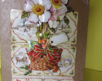 "Card 3D (relief) decorated basket with rodes Christmas and silver ""Best wishes"" stickers"