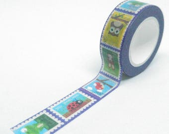 Washi Tape patterns animal stamps funny multicolor 10Mx15mm