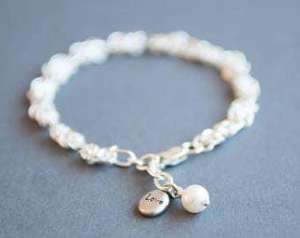 Sterling silver 'LOVE' charm bracelet