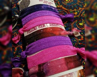 """7pc galaxy theme elastic bracelet hair ties ponytail holder """"knot quite human"""" pink and purple """"ouchless"""""""
