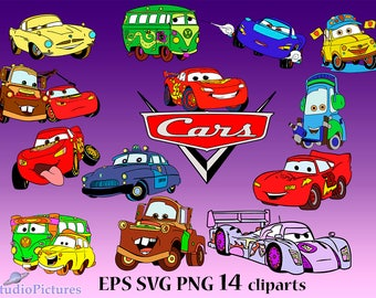 Movie Cars Svg, Disney Cars Svg, Cut Files, Mate cars clip art, Lightning svg, Cars movie svg, disney clipart, disney svg, Cartoons clipart