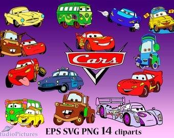 Movie Cars Svg, Disney Cars Svg, Cut Files, Mate cars clip art, Lightning svg, Cars movie svg, disney clipart, disney svg, Cartoons clipart