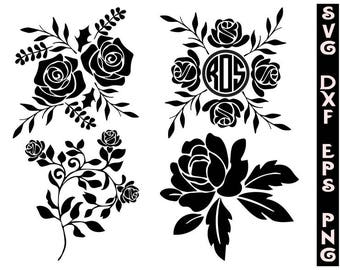 Silhouette roses svg, cut files, pattern, t-shirts svg, Svg, roses svg, rose dxf, roses png, roses clipart, flowers svg, flowers dxf, png