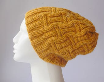 Knit beanie hat, mustard yellow, Knitted hat  winter knitted hat, handknit slouch hat, slouchy hat