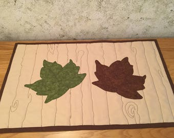 Maple Leaves Woodgrain Quilted Table Runner