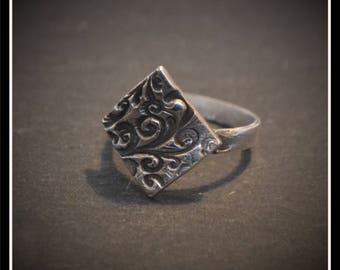 Silver Diamond Antique Effect Ring - Silver Precious Metal Clay (PMC), Handmade, Ring - (Product Code: ACM092-17)