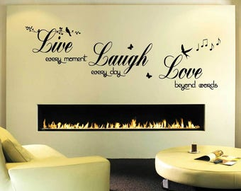 Live Love Laugh  Wall Quote Decal   Art Decor Living Room Hall Bedroom Wall  Sticker Part 36