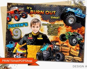Monster Truck Party,Monster Truck Invitation,Custom Face Invites,Monster Truck Birthday,Dirt Bike Party,Photo Invite,Milestone,Dirt Bikes