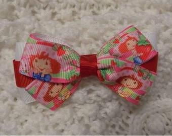 Strawberry Shortcake and Custard - Girl Hair Bow, Hair Clip for toddler, Hair bow for toddler, Head bow for girl