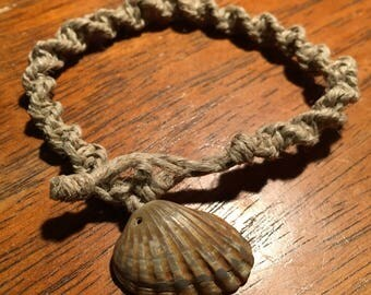 Caramel colored seashell bracelet/anklet braided into a spiral with help
