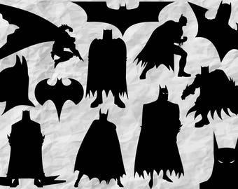 12 Batman Silhouettes | Batman SVG cut file | Batman cliparts | digital files | vectors | wall print | printable | print | vinyldesign
