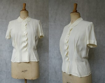 Cream 1940s blouse