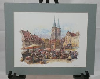 Nurnberg Ready-To-Frame Matted Watercolor Print