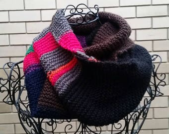 Colourful random hand knitted infinity scarf/ cowl