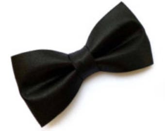 Black Satin Bow tie w/ elastic as attachment for kids boy toddler or baby Sizes NB - 7 Yrs