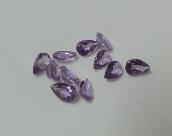Natural Amethyst Pear Beads, Undrilled Pears, Loose Pear, Amethyst Bead, Loose Amethyst Faceted Pear Bead Lot, Amethyst Loose Beads Lot