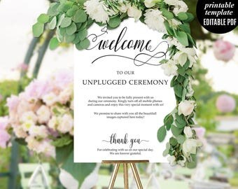 Wedding Unplugged Ceremony Poster Welcome Sign Modern Calligraphy Font Classic Elegant Download Digital Editable PDF DIY