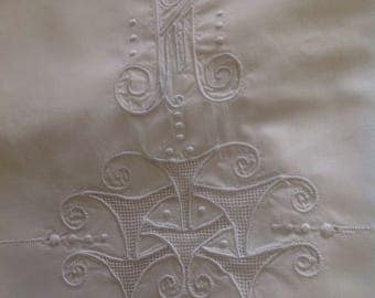 Lovely embroidered sheet with anagram, Art Deco motives, Belle Époque, vintage