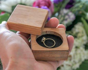 Handmade engagement wooden ring box - Cherry wood ring box, wedding ring jewelry box