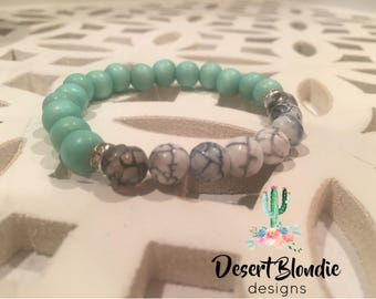 Turquoise Wood & Black and White Dragon Vein Fire Agate Bracelet