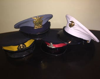 Assorted military and police caps