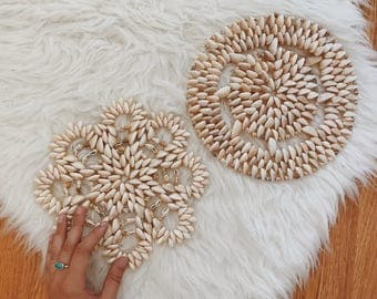 Set Of Two Cowrie Shell Trivets | Boho Shell Wall Art | Boho Wall Hanging |